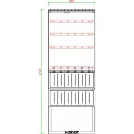 Csatári Plast CSP 74000046 PVT-K-L 66 FE Elosztó szekrény 1xNH00+5xNH2 660x1770/250