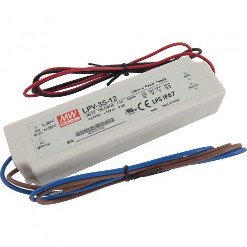MEANWELL LPV-35-12 LED tápegység 35W 12V DC IP67 műanyag házas